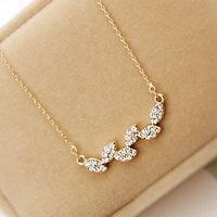 David jewelry wholesale X220 Sparkling inlaying czech rhinestone wheat leaves necklace female short design