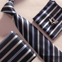 1 SET unique necktie set fashion tie cufflinks with pocket squares for grooms