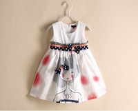 free shipping DS4004   girl  summer girl print bow dot white vest dress, summer cotton dress, tank