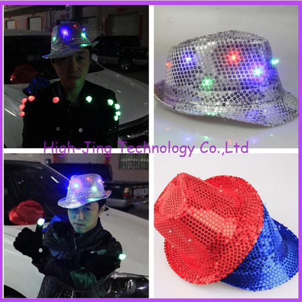 New arrival Fashion colorful LED Light Hat Party Hats Boys and Cap Baseball Caps Fashion Luminous jazz hat free ship 20pcs(China (Mainland))