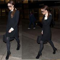 New 2014 Spring Autumn High Street Casual Women Victoria Beckham Dress Mini Full Sleeve Slim Brand Free Shipping A0298