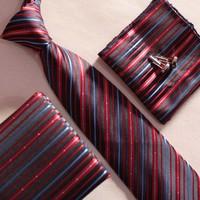 1 new design gravatas set fashion diagonal striped tie with cufflinks pocket squares for gift FREE SHIPPING