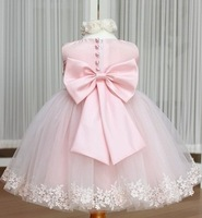 Retail 2014 summer girls bow tutu dress princess baby clothes kids pink party wedding dress children puffy lace dress clothing