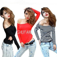 Free Shipping New 2014 Women Fashion Long Sleeve T shirt,Ladies Sexy Off Shoulder Low Cut Tops Tees SY506