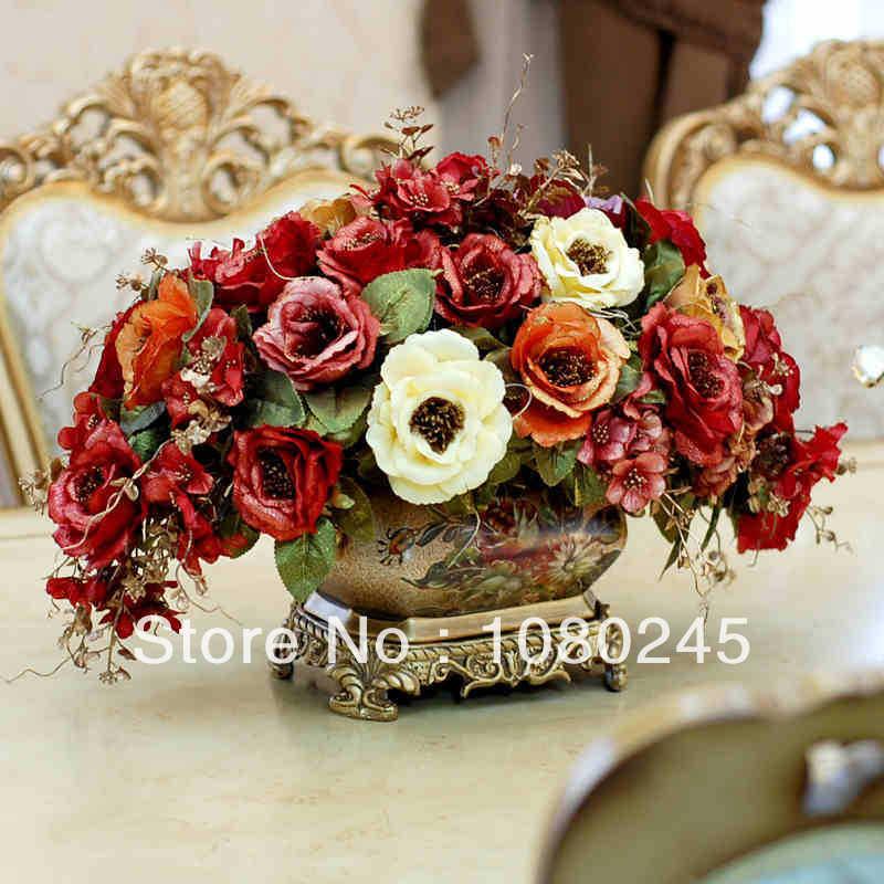 Lareira tribunal europeu decorativo floral do vintage de mesa floral flores artificiais decoração de casa pacote global floral(China (Mainland))