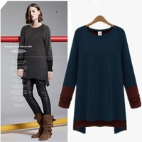 Fashion women's fashion color block decoration pullover o-neck long-sleeve loose medium-long personalized basic t-shirt 00399