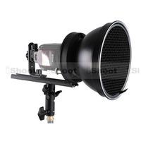 Universal Metal Speedlite Bracket Holder + Bowens Mount Adapter + 18cm Studio Flash Reflector + Honeycomb Grid