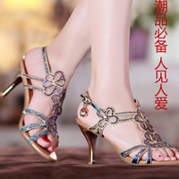 2013 summer rhinestone sandals bohemia high-heeled shoes women's cutout diamond