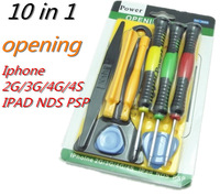 Hand Tool Sets10 in 1 Mobile phone teardown kit maintenance tools for iphone 3 3gs 4/4s ipad psp free shipping