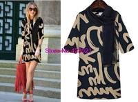 Spot wholesale 2014 new large size new European remarkable temperament round neck letters print dress M-XXXL