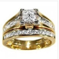 1.15CT PRINCESS CUT ENGAGEMENT W DING RING SET