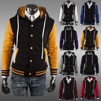 2014 New Hot Hoodied Jacket Fashion Men's Jackets Baseball Men 8 color 4 size 122069