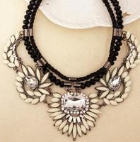 Luxury Crystal Synthetic Gemstone Flowers Braiding Rope Bead Necklace statement bib Choker 2014