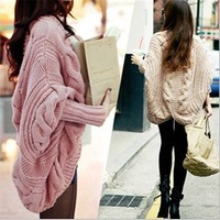 Free Shipping 2014 Hot sale Womens Knitted Cardigan Batwing Outwear Lady Casual Loose Sweater Coat Tops #1816