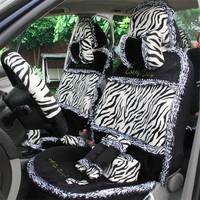 Winter plush car seat cover autumn and winter leopard print zebra print female cartoon seat cover