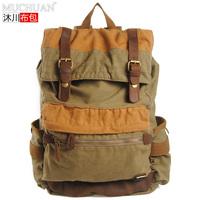 Hot Selling Korean style Men's Vintage Canvas School bag boy's Military Shoulder Bag big capacity travel bag Satchel Khaki&green