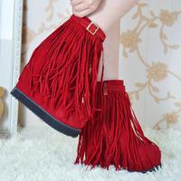 Fashion fashion boots ultra high heels platform elevator boots solid color ribbon medium-leg boots tassel boots