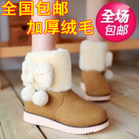 2013 plus velvet snow boots platform boots autumn and winter flat heel flat tassel boots