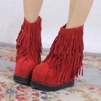 Fashion tassel women's shoes platform boots super-elevation wedges boots