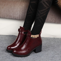 Fashion buckle boots back zipper fashion thick heel high-heeled boots female vintage ankle boots martin boots