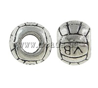 Free shipping!!!Zinc Alloy European Beads,Designer, Drum, antique silver color plated, without troll, nickel