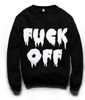 NEW ARRIVAL  SW-039-3 women's turtleneck sweatshirts harajuku Fuck off print hoodies Black pullovers 2014 New free shipping