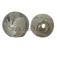 Free shipping!!!Silver Foil Lampwork Beads,New Year Gift, Round, grey, 10mm, Hole:Approx 1mm, 100PCs/Bag, Sold By Bag