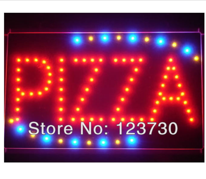 Free Shipping Hot sale Animated Motion LED Restaurant BBQ Club Pizza SIGN On/Off Switch Open Light Neon(China (Mainland))