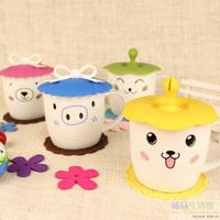 Animal ceramic tea mug with lid