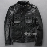 Alpha hunting jacket motorcycle jacket Men calf skin genuine leather clothing leather overcoat m65