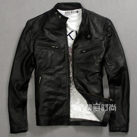 First layer of cowhide motorcycle jacket genuine leather male plus size clothing plus size