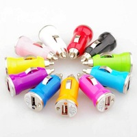 50pcs/lot Mini Color USB CAR Charger Adapter 5V 1A for iPHONE4 4S 5 5S iPOD GPS