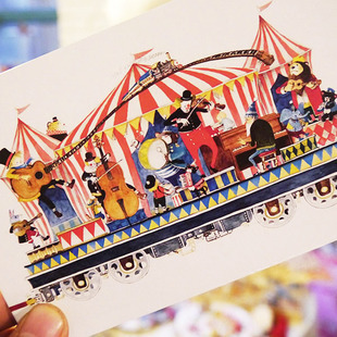 [Cardii] train bound for happiness postcard 10 hand-drawn illustrations into^greeting card(China (Mainland))