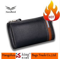 2014 Men's Brand Long Design Zipper Cowhide Genuine Leather Wallet Clutch With Strap , High Quality Leather Purse For Man