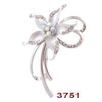 New  6 Colors  Gorgeous  Enamel  Rhinestone  Flower  Brooch  Pin  Wedding  Jewelry  Size 3.9x6cm