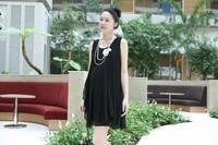 summer  korean black sweet round collar sleeveless maternity chiffon dress fat skirt for pregnant