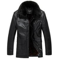 Thickening PU Leather Plus Velvet Men's Luxury Fur Long Jackets Men's Detachable Fur Coat