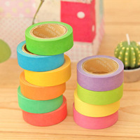 10Pcs Fashion Stationery Wholesale Ten Rainbow Colors Washi Sticky Tape Candy Color Adhesive Tape DIY Decoration Sticker Label