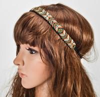 Wholesale retail charming Fshion beading handmade Elastic headband summer party hari accessories