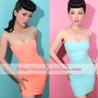 vestidos saias femininas 2013 tally weijl sexy candy color belt pad slim tube top one-piece dress