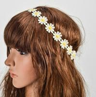 Wholesale retail charming Fshion sunflower daisy lace handmade romantic Elastic headband hari accessories for adult