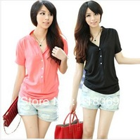 Blue Yellow Pink Black White Free shipping new fashion womens summer  shirt Cotton% tops loose blouses shirts for women 2014