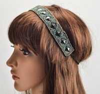 holesale retail charming Fshion beading blue beads rivert Elastic headband blue party hari accessories