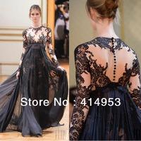 Gorgeous 2014 Jewel Collar Lace Applique Grey Chiffon Zuhair Murad Long Evening Dresses