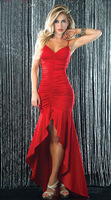 Pretty Women Red Spaghetti Strap V-neck Asymmetric Open in the Front Long Dress Evening Dresses Party Gown Dresses 8386