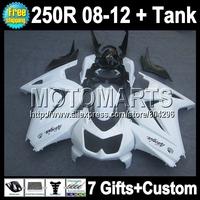 7gifts+Tank For all white Kawasaki Ninja ZX250  ZX 250R 16Q3 08 09 10 11 12 gloss white 2008 2009 2010 2011 2012 ZX250R Fairing