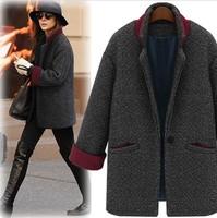 New Europe Women's  Elegant Women One-button Wool Blend Jacket Coat Outerwear