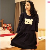Casual korean maternity autumn bear plus size one-piece dress maternity nursing dress maternity dresses breastfeeding tops