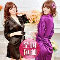Free Shipping Sexy Women Ladies Open Front Solid Lingerie Set Robe Underwear Pyjamas Nightwear Soft Sleepwear Tong 4 Colors