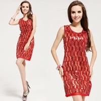 Free shipping 2014 red  gold sequined waist vest dresses exquisite handmade sexy evening dresses